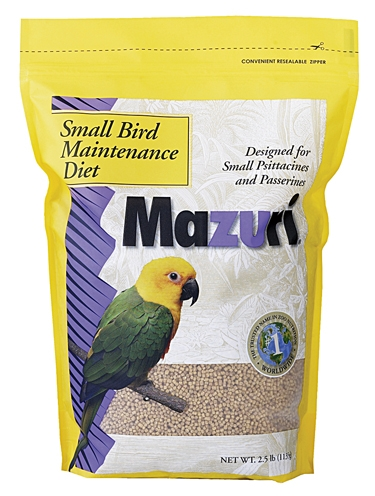 mazuri small bird maintenance feed 25lb bag shell's feed