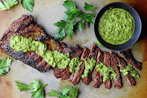 Chimichurri on Steaks