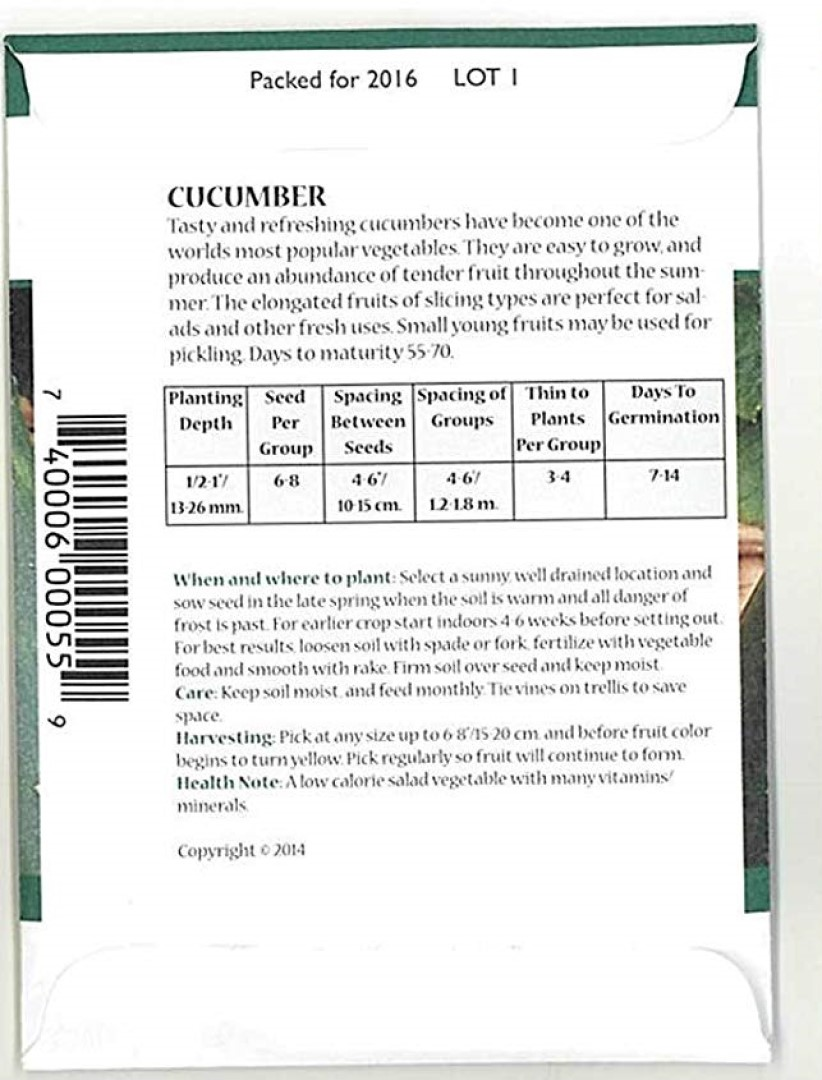 seed packet instructions